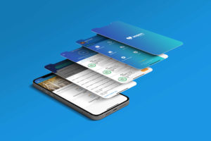Phone showing various screenshots of AspenRx app